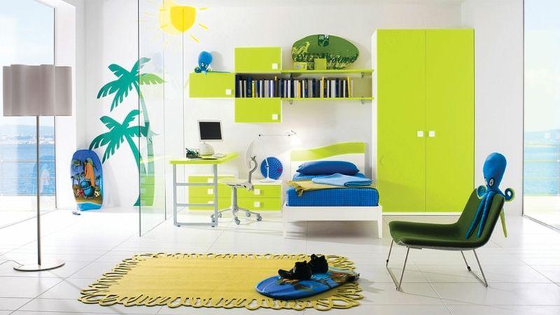 Einrichtungsideen-Kinderzimmer-Junge-Kindermöbel-neongrün - kinderzimmer kreativ gestalten ideen