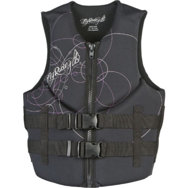 Fly Racing Pull Over Nylon Safety Vest Life Jacket Coast Guard Approved Black