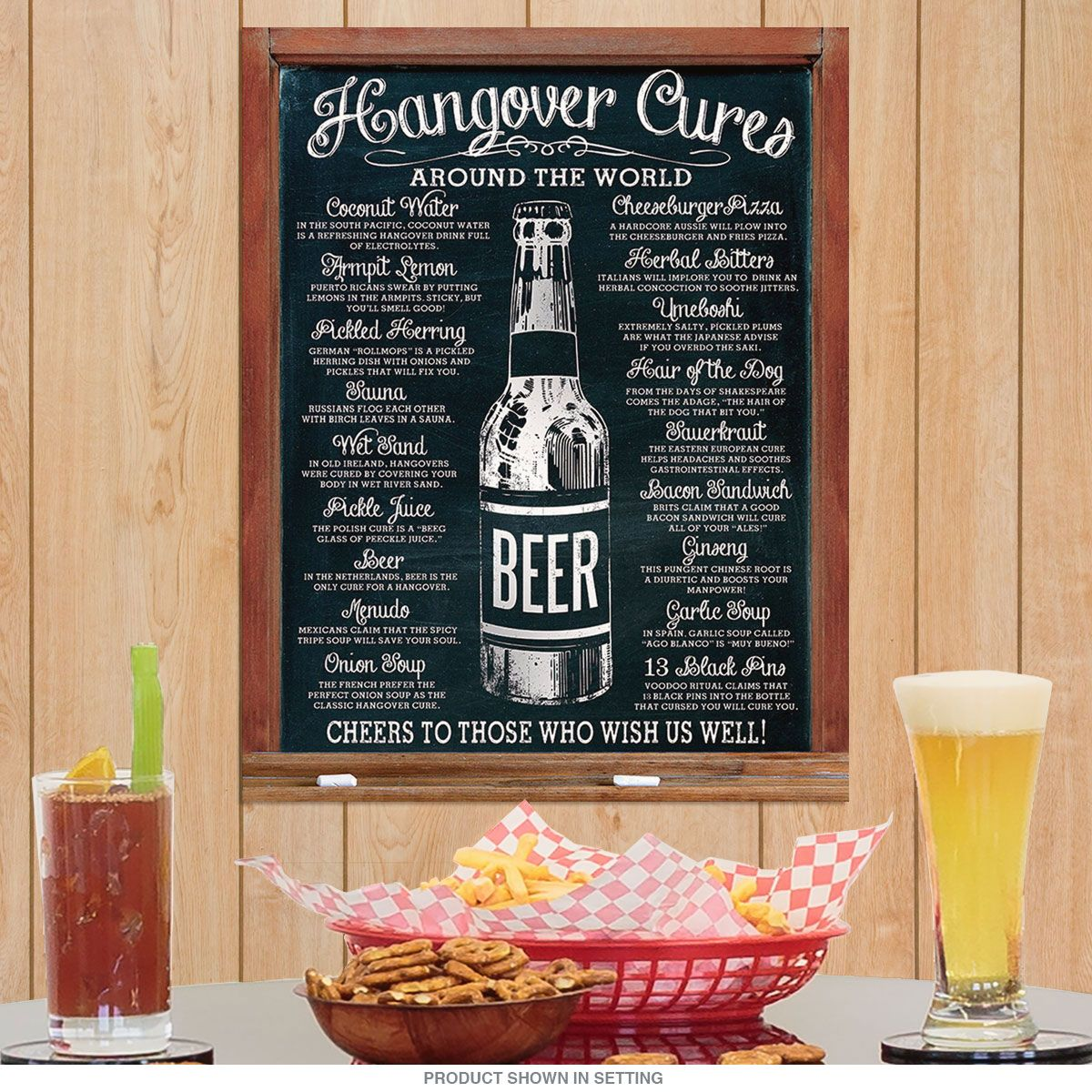 Mens Kitchen Decor: Beer Hangover Cures Around The World Metal Sign