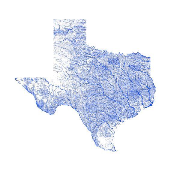 Texas Map Texas Rivers High Resolution Map Of Texas Texas Print