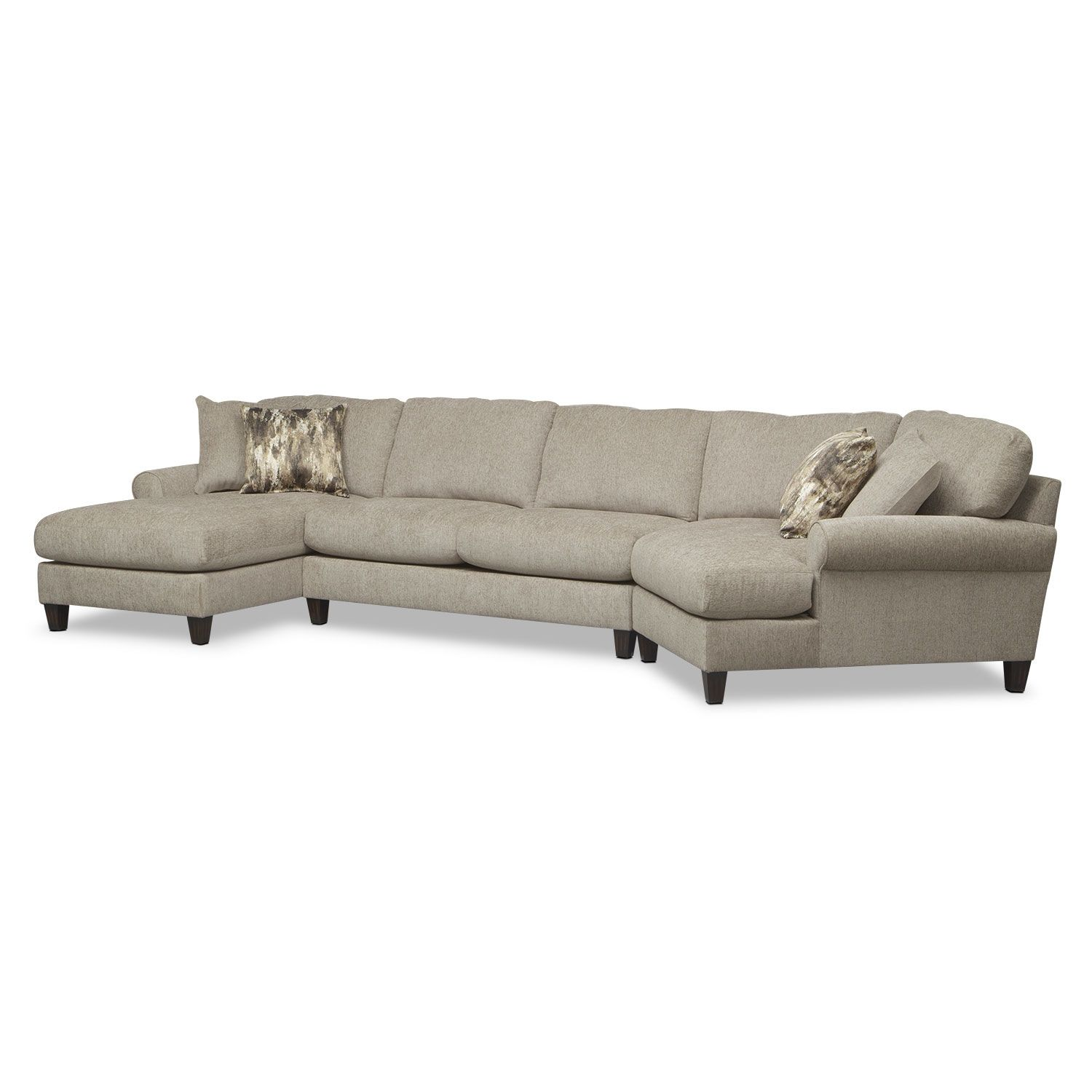 Living Room Furniture Karma Mink 3 Pc Sectional With