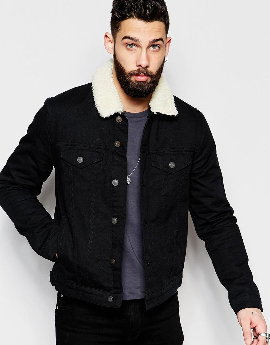 ASOS Denim Jacket With Borg Collar In Black Wash | Threads | Pinterest