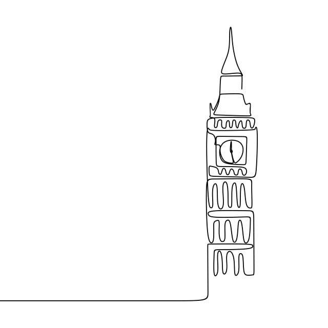 رسم خط متواصل من لندن مدينة وستمنستر بيغ بن برج الساعة برج توضيح رسم Png والمتجهات للتحميل مجانا Line Drawing Continuous Line Drawing Line Art Drawings