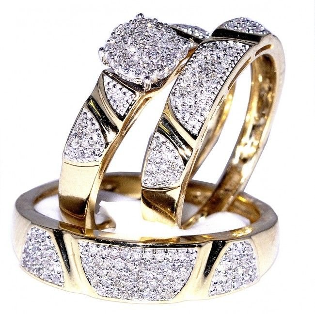 05ct Diamond His And Her Trio Wedding Rings Set 10K Yellow Gold