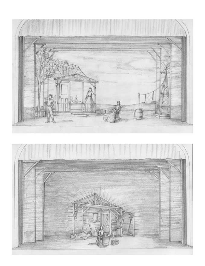 Oklahoma  Storyboard Drawings   Struthers Library Theatre Cary