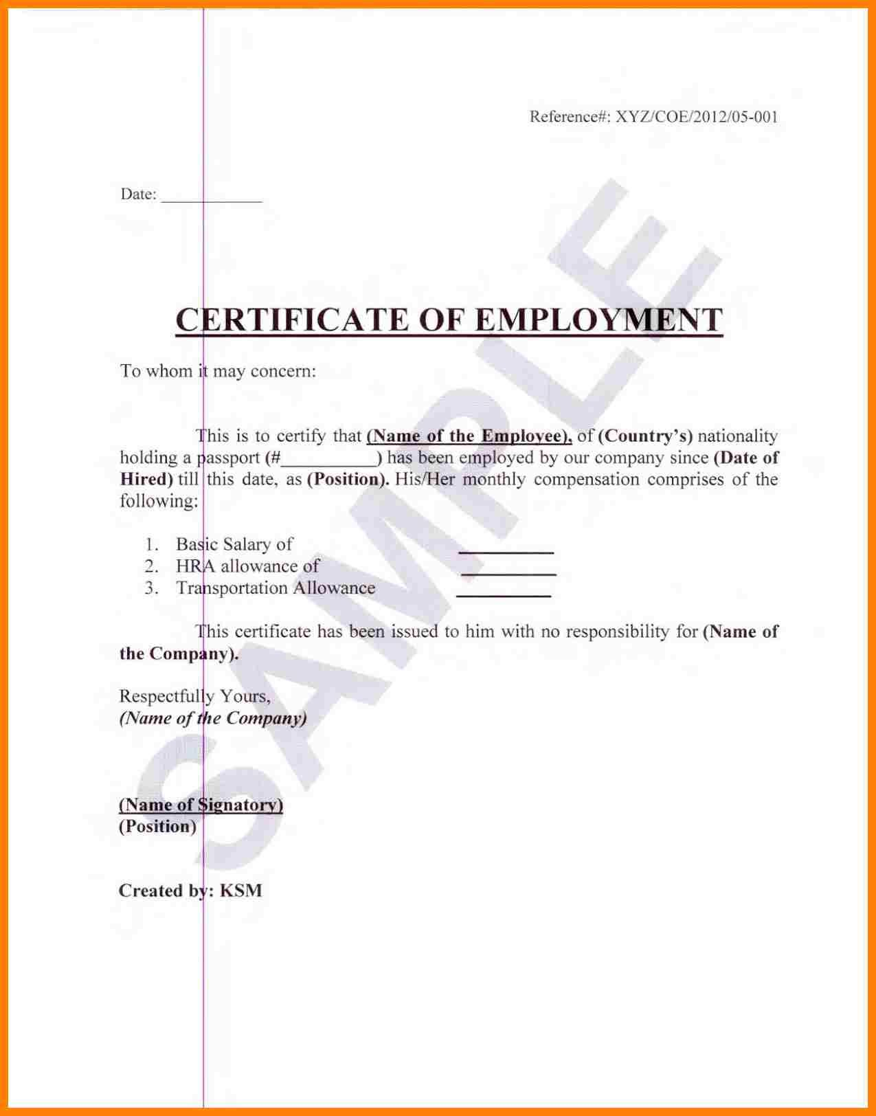 Certification Of Employment Sample Extraordinary Employment
