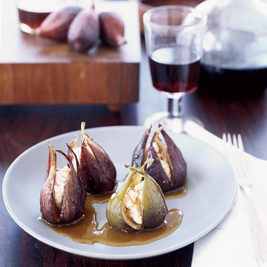 Goat Cheese-Stuffed Roasted Figs   This super simple recipe calls for only three ingredients.