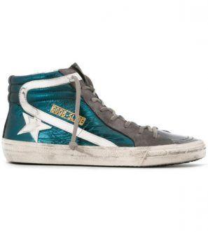 GOLDENGOOSE - Sneakers alte verdi Slide con stella bianca da donna