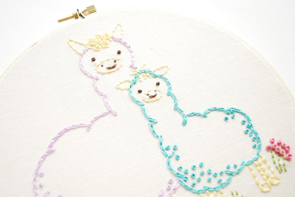 A mama and baby alpaca...this was so much fun to draw up and stitch!