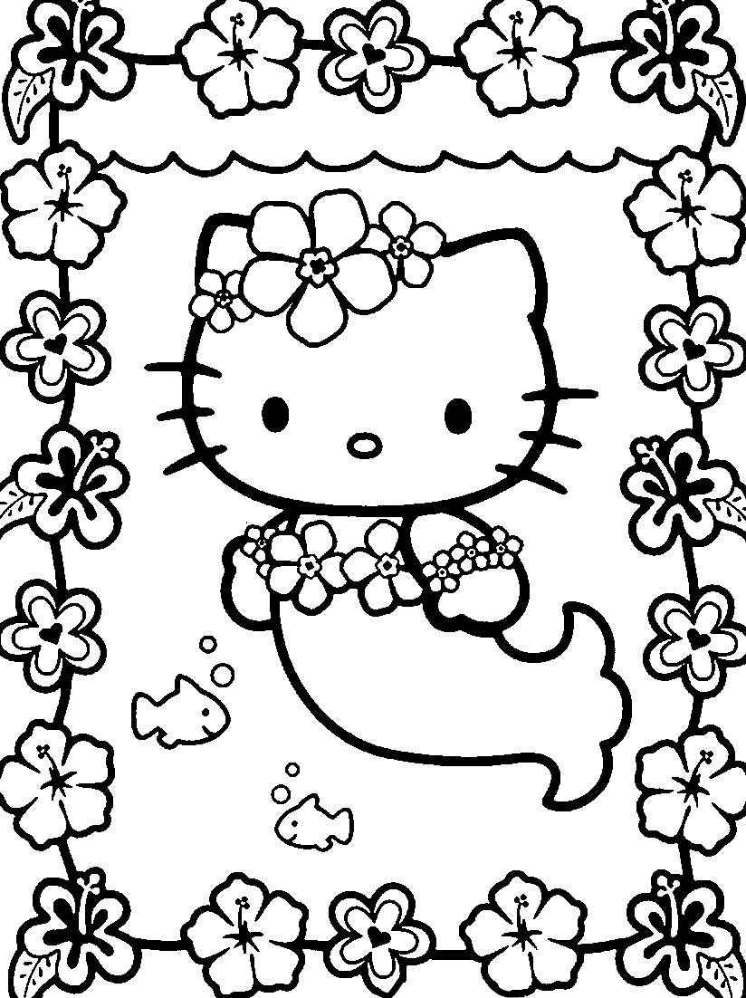 Mermaid hello kitty coloring pages free printable seawaterman