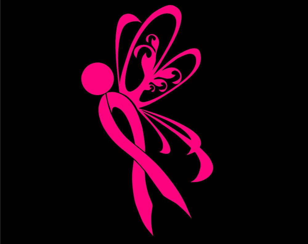 BREAST CANCER BUTTERFLY VINYL DECAL STICKER WALL LAPTOP CAR PICK - Butterfly vinyl decals