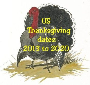 Us Thanksgiving Dates 2013 To 2020 Us Thanksgiving Thanksgiving Help Thanksgiving