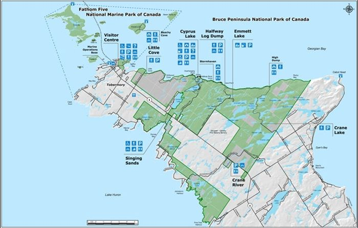 Map Of Tobermory Ontario Canada Map Bruce Peninsula National Park and Fathom Five National Marine