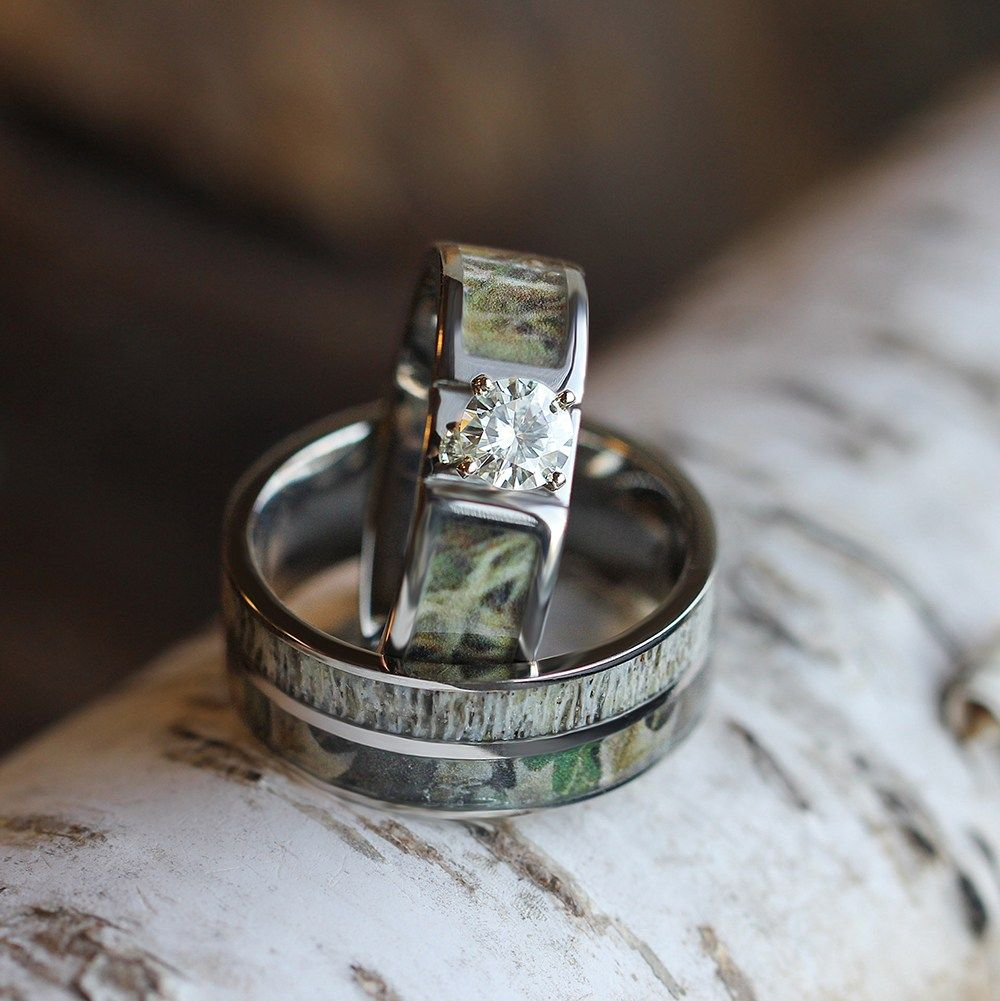 Camo Wedding Ring Set With Moissanite And Deer Antler Rings 3436