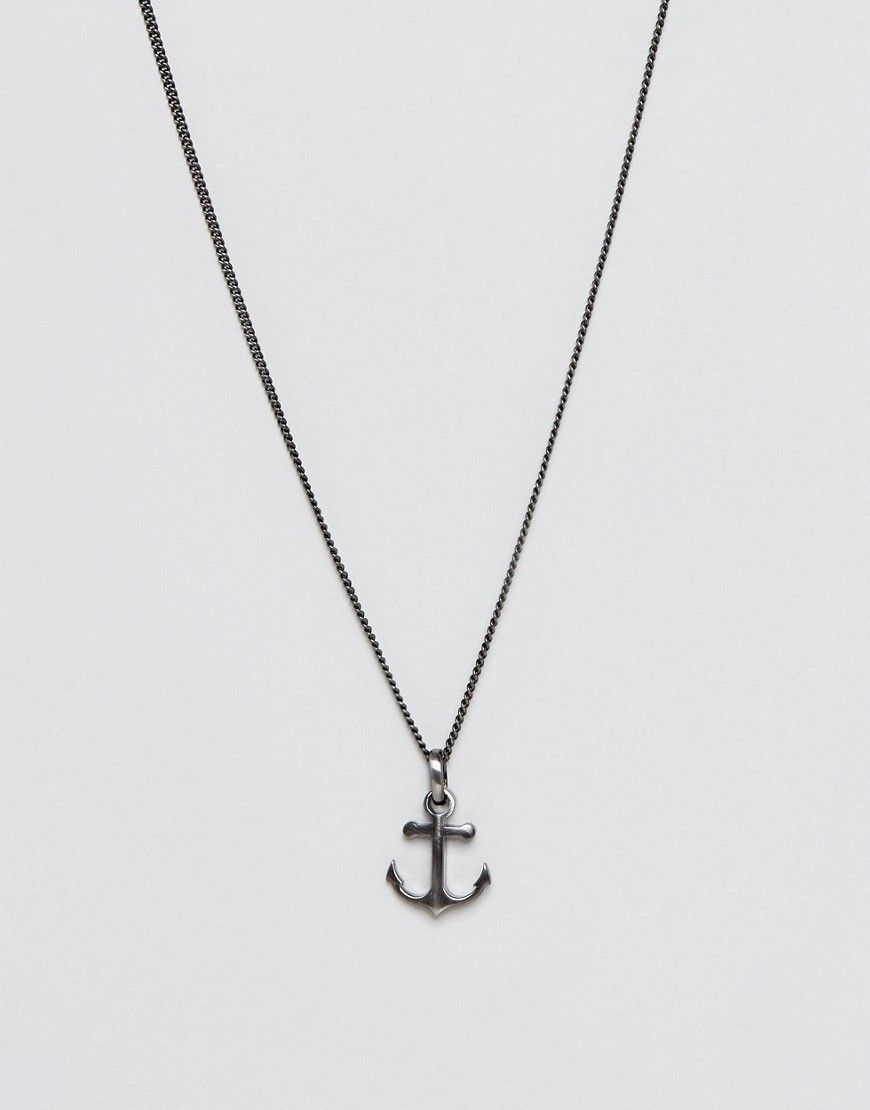Simon carter anchor pendant necklace in antiqued finish silver