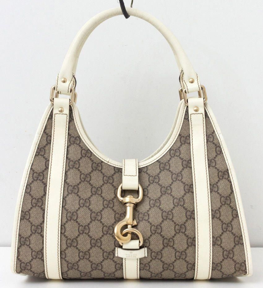 dc4eef034ec GUCCI GG Plus Joy Shoulder Bag White Leather Monogram Canvas Handbag  #Guccihandbags
