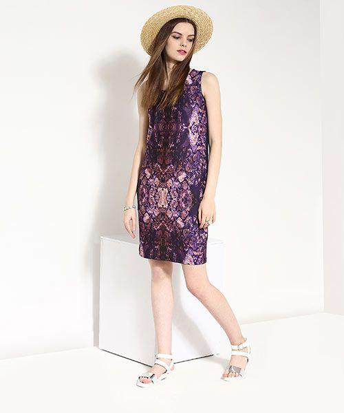 Yepme Digital Print Bodycon Dress - Purple & Blue