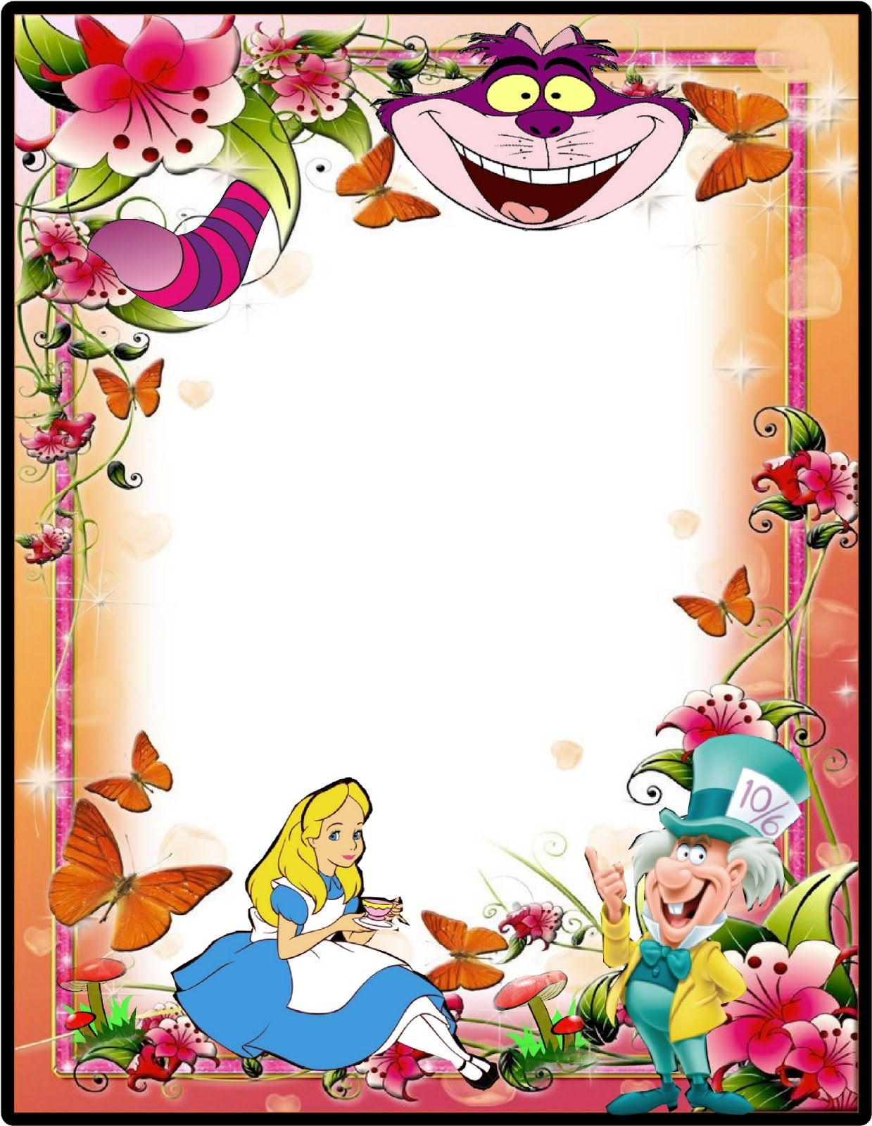 Alice In Wonderland Mad Hatter Party Free Border For Invitaions
