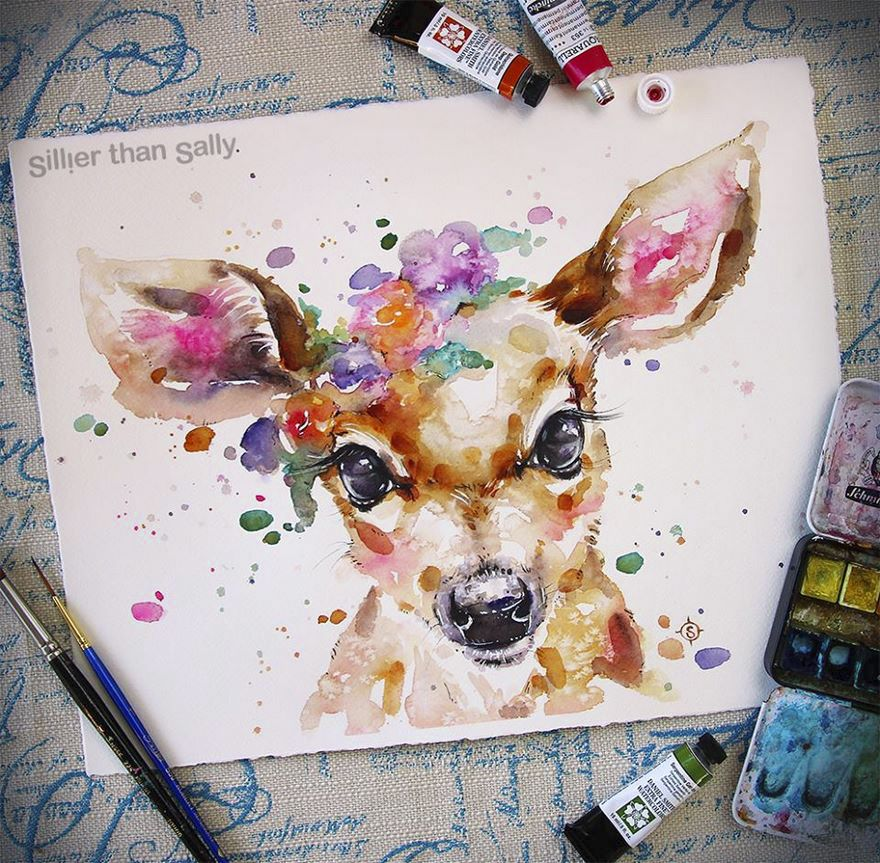 Nature Inspired Watercolor Paintings By Sillier Than Sally