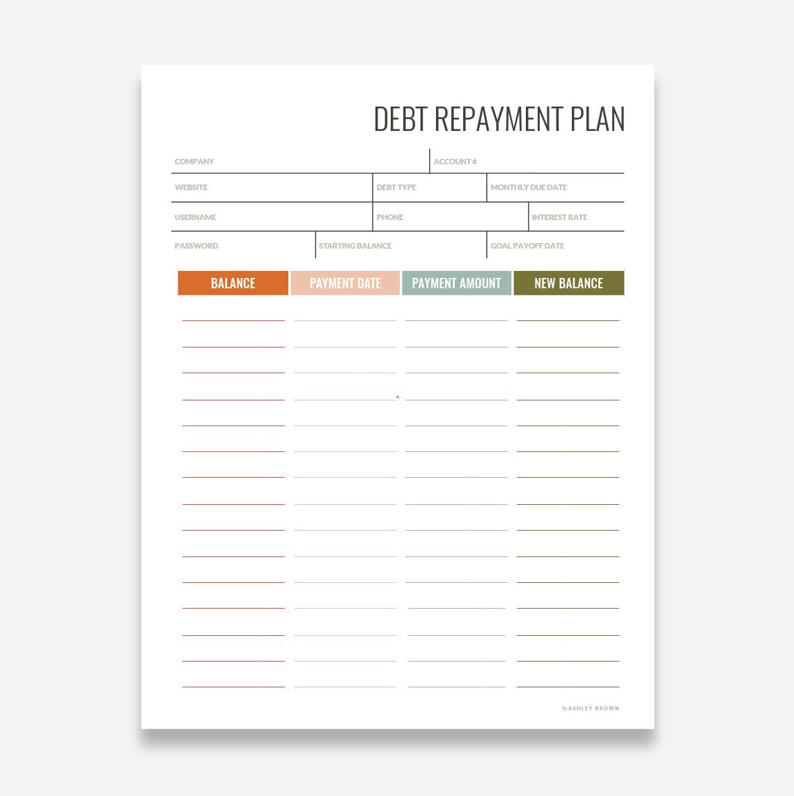 Debt Repayment Worksheet Payment Plan Debt Repayment How To Plan Debt Payoff Plan