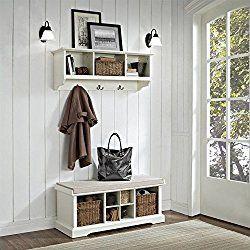 Crosley Brennan 2 Piece Entryway Bench And Shelf Set, White