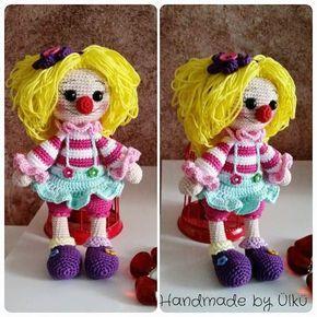 Amigurumi Clown Mädchen Leonie Clown Girl Palyaco Kiz Bebekler