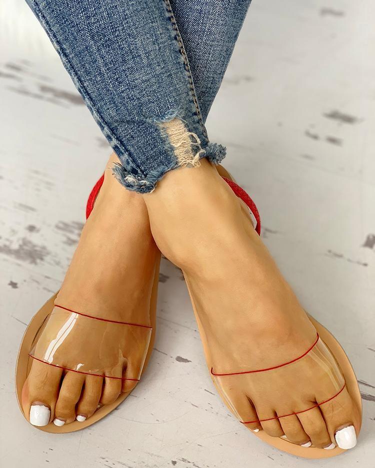 Transparent Design Open Toe Flat Sandals Transparent Design Open Toe Flat Sandals , Price : 30.99  Free Shipping & 30 days Easy Return.
