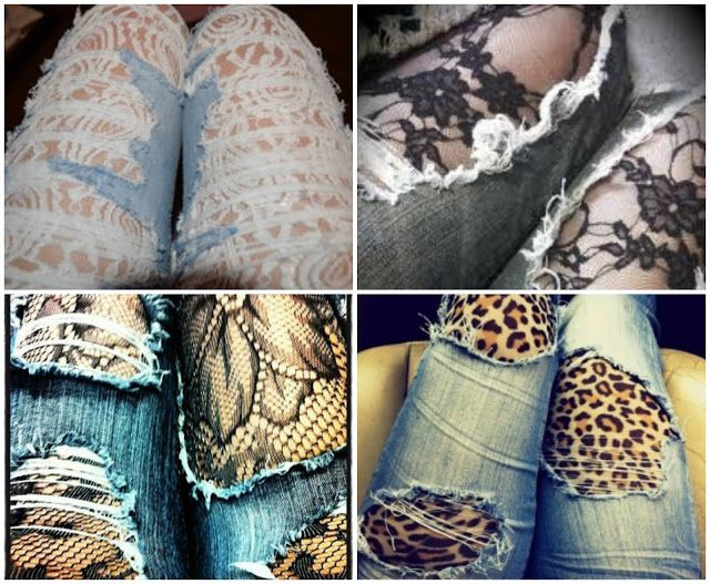 Ali S Fashion Sense Lace Under Distress Diy Lace Jeans Diy Ripped Jeans Lace Jeans