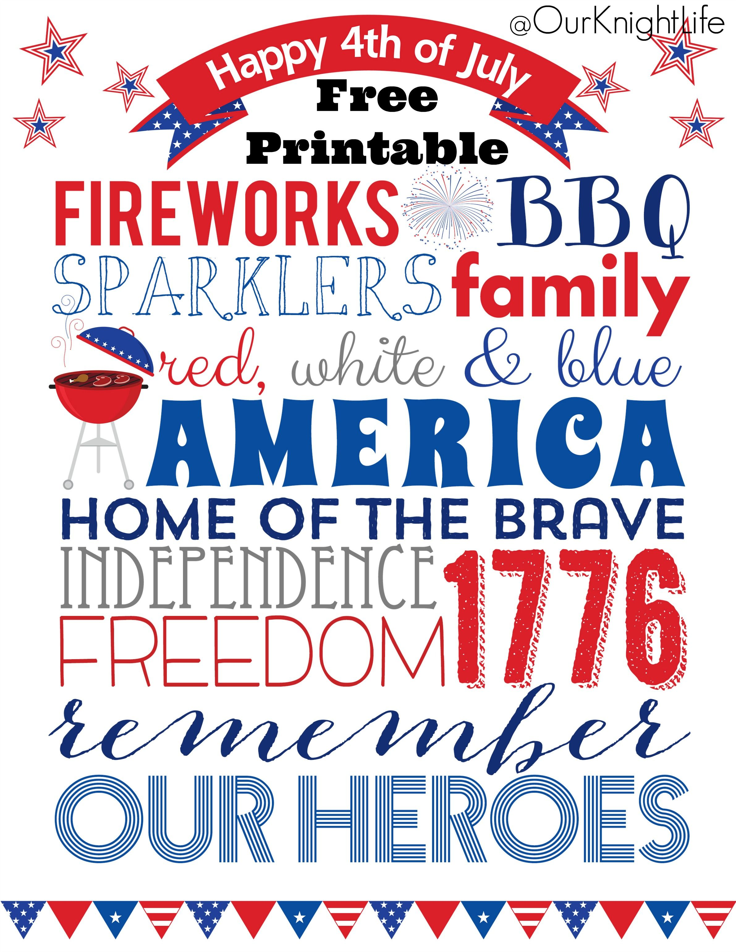 4th Of July Subway Art 4th Of July Free Printable 4th Of July Decorations Fourth Of July