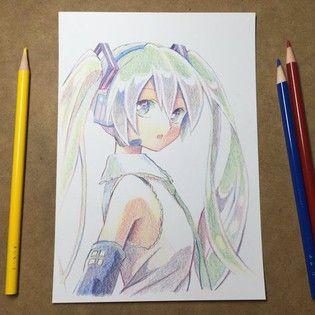 Watch Hatsune Miku Get Drawn With Only Three Colored Pencils Anime Art Tutorial Anime Art Beautiful Anime