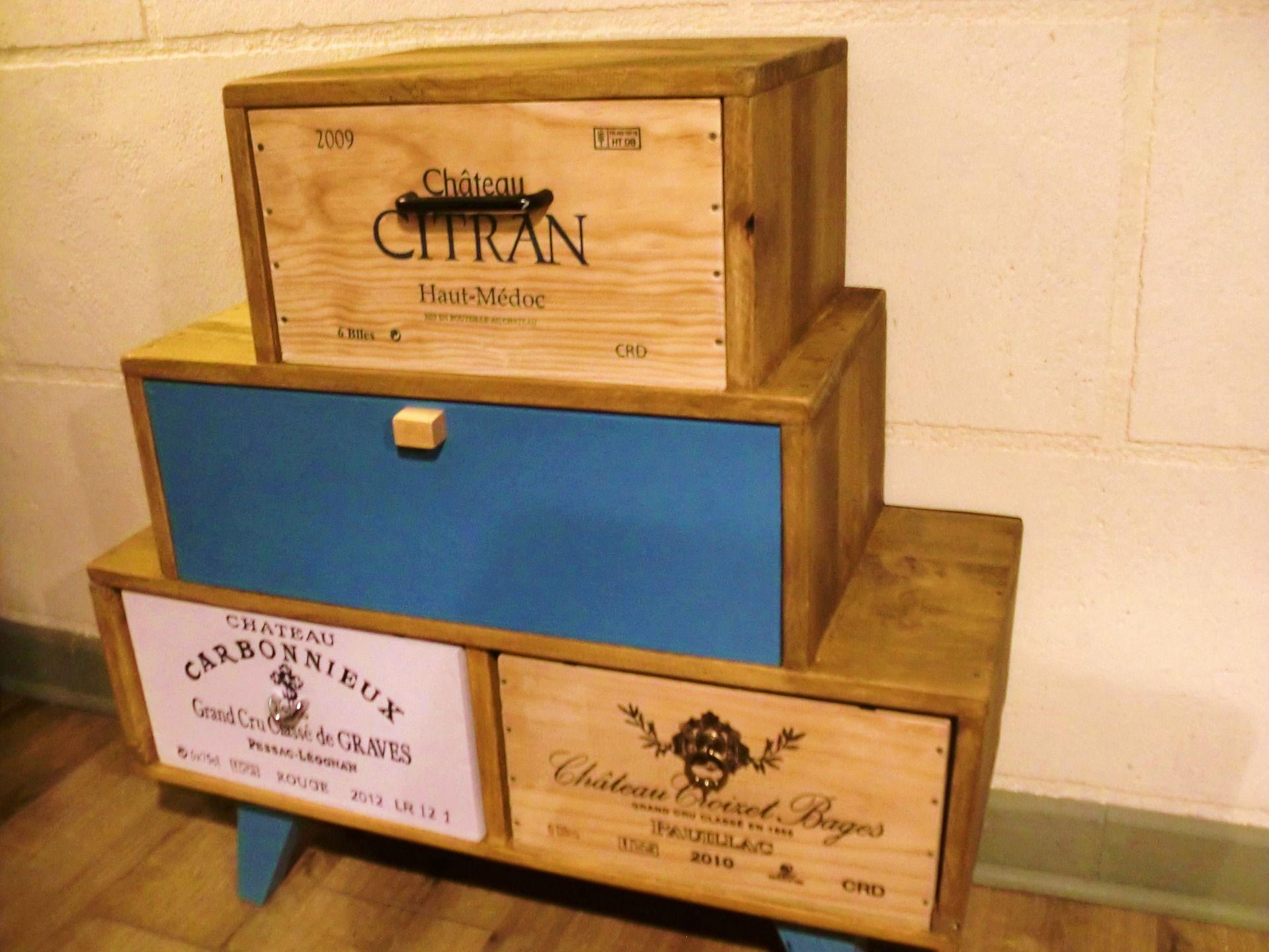 Buffet Fait Main En Bois Massif Avec Caisses De Vin Style Vintage  # Meuble En Bois Massif