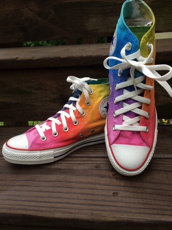 b2d8f531fc9acf Rainbow Converse Tie Dye Converse Ombre High Top Shoes in 2019 ...