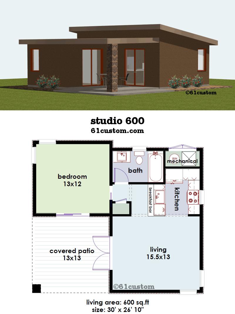 Studio600 Small House Plan 61custom Contemporary Modern House Plans Guest House Plans Courtyard House Plans Small House Plans