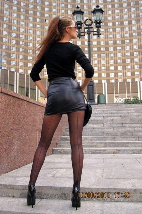 Shoes Black Nylon Pantyhose Short Skirt Blouse Dark Black Jacket