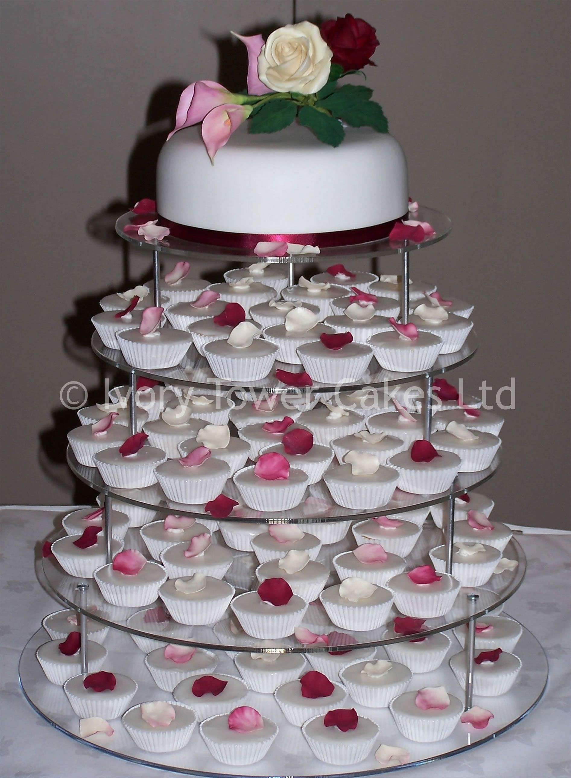 Wedding cupcakes with sugar roses and sugar rose petals by Ivory Tower Cakes
