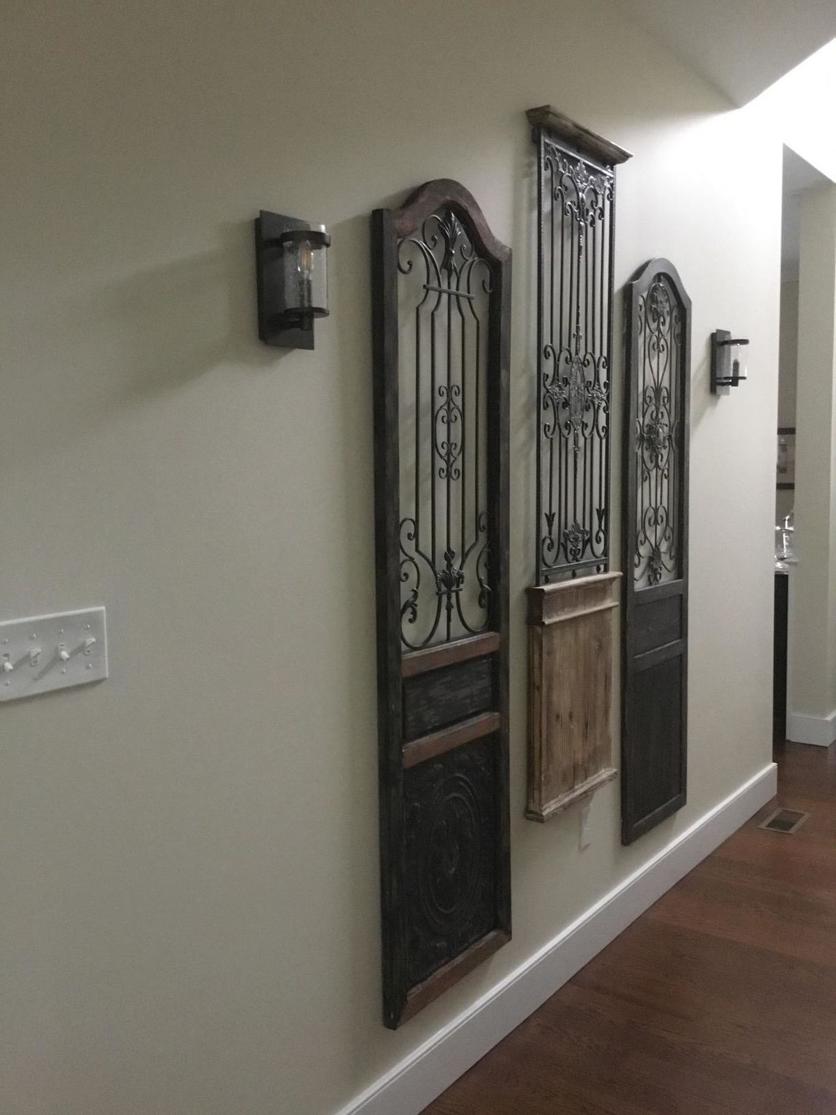 Iron Scroll Work Wood Wall Decor Garden Rustic Arched Sculpture