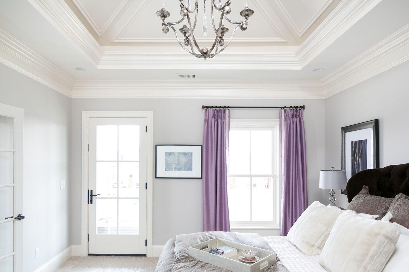 Master bedroom gray walls  Master bedroom Jenni Danehy at red design for Stonecroft Homes Photo