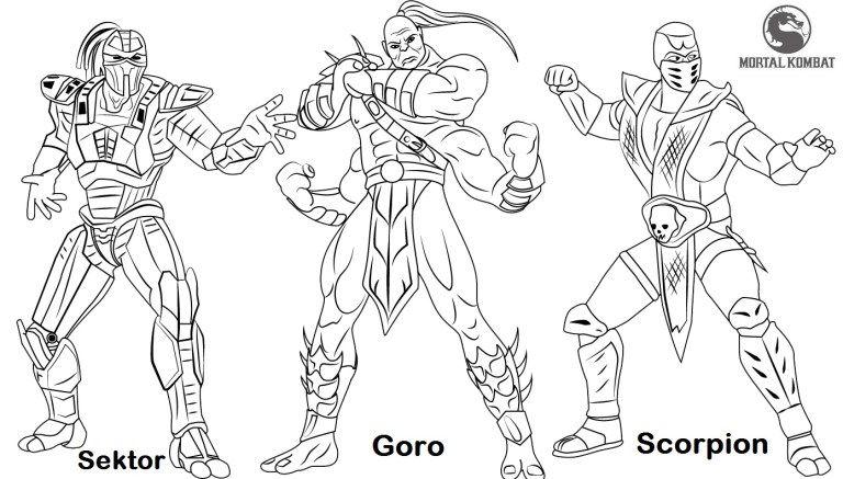 Sektor Goro and Scorpion from Mortal Kombat Coloring Page | Mortal ...