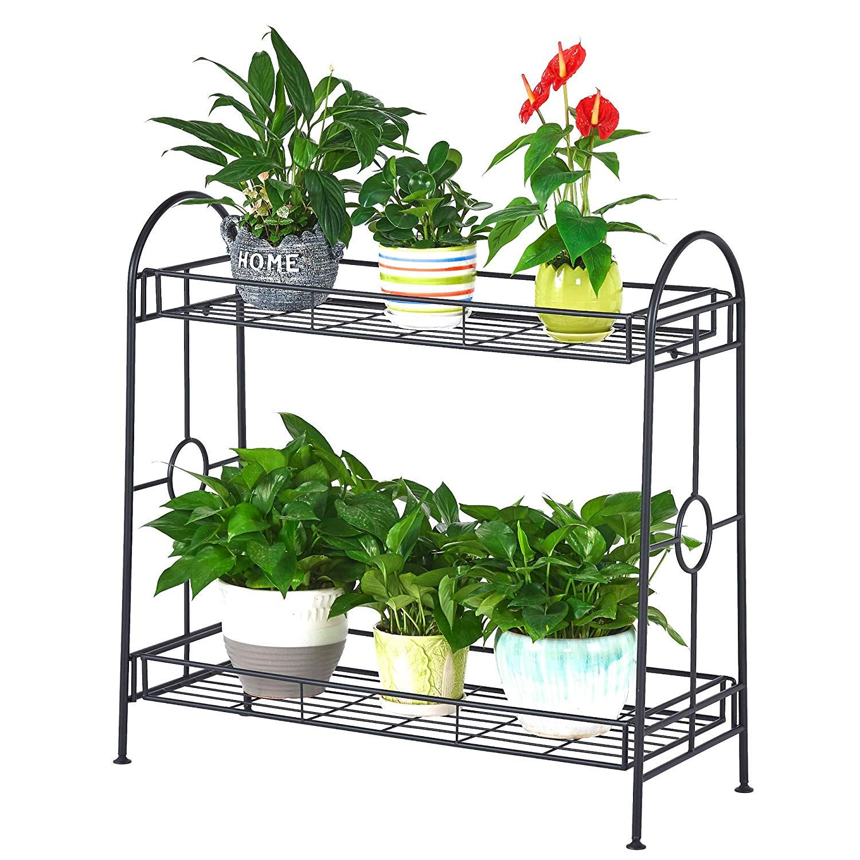 Amazon Com Faithland Steady 2 Tier Metal Plant Stand Flower Pot
