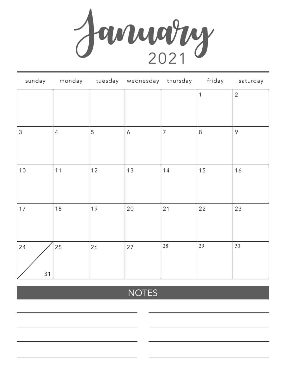 FREE 2021 Printable Calendar Template (2 colors!) I