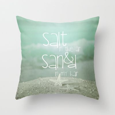 Salt In The Air Throw Pillow Sand Salt Love Pillow Typo Sofa