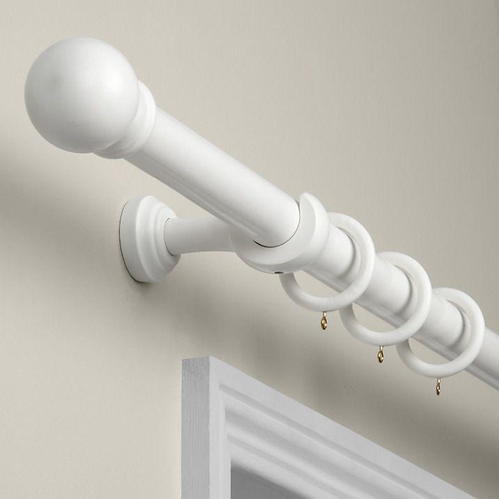 John Lewis Partners Wood Curtain Pole Kit Dia35mm White Finished