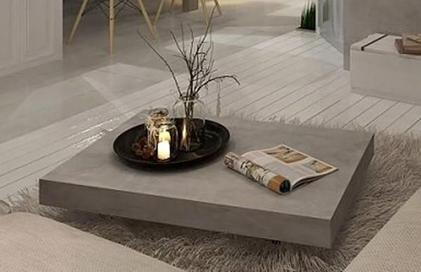 Furniture Maison | Vega Concrete Coffee Table On Wheels