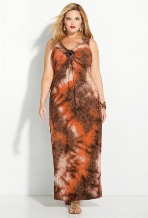 66babaa2904 Amazon.com  Avenue Plus Size Brown Tie Dye Medallion Maxi Dress  Clothing