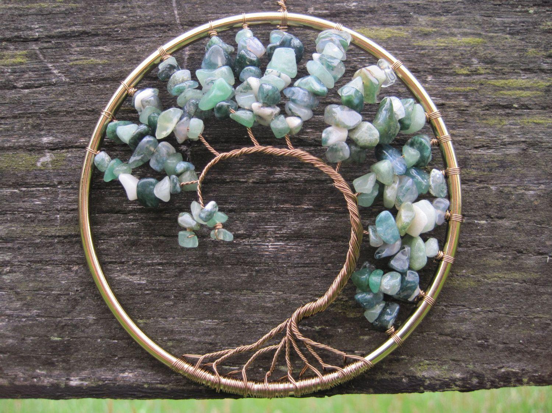 Tree of life ornament - Virginia Creeper 4 Gemstone Suncatcher Wall Art Ornament Tree Of Life