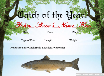 Catch Of The Year Certificate Template At WwwClevercertificates