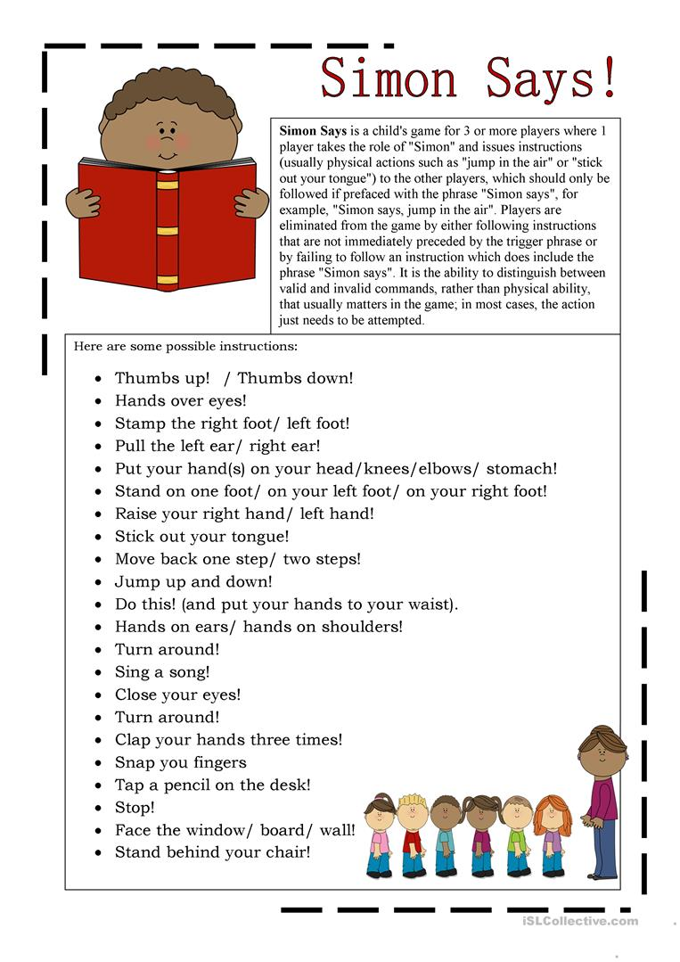 Simon Says English Esl Worksheets For Distance Learning And Physical Classrooms English Lessons Teaching English Simon Says [ 1079 x 763 Pixel ]