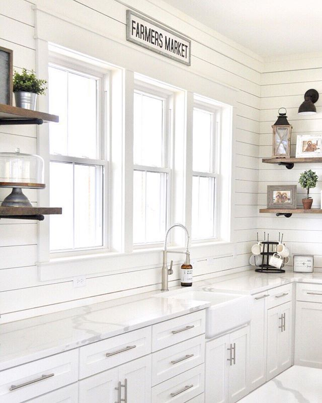 White Farmhouse Shiplap Kitchen