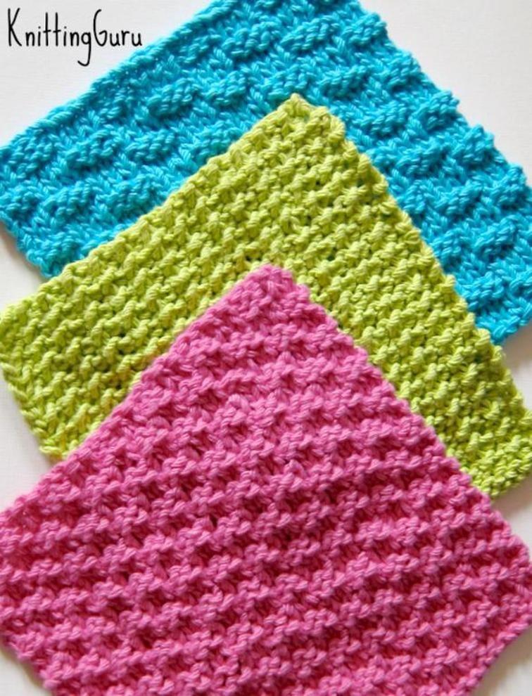 6 Knitted Eco Dishcloths + Tutorials   Agarraderas