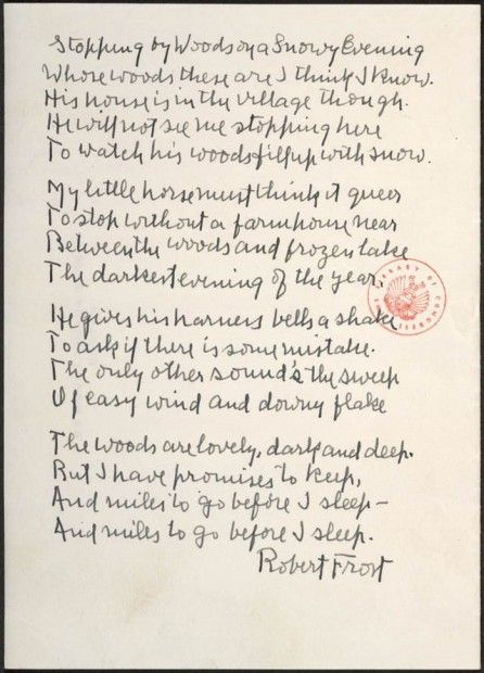 Robert Frost S Handwritten Manuscript Of Stopping By Woods On A